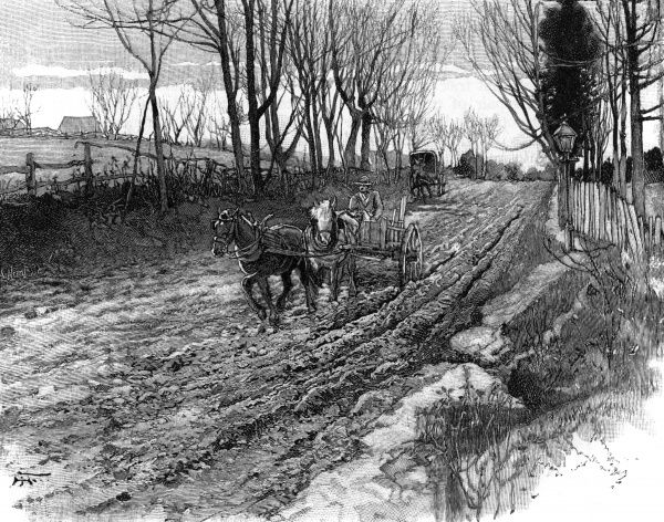 A citizen of Philadelphia drives his carriage along the rutted mud of an American country road - Hunting Park Avenue it's grandly named ! Date: 1891