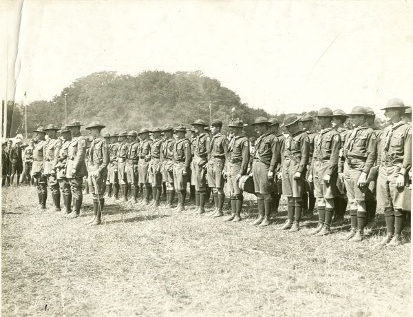 American Scouts in full uniform lined up and standing to attention. circa 1930s