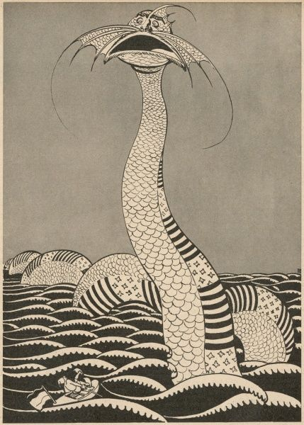 The American sea serpent, with the stars and stripes on its body -- a satirical depiction