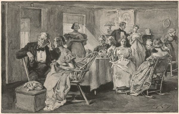 An American sewing circle. Ladies chat while they sew and are entertained by a few gentlemen callers