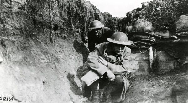 American soldiers in a trench near Toul, north eastern France, during the First World War
