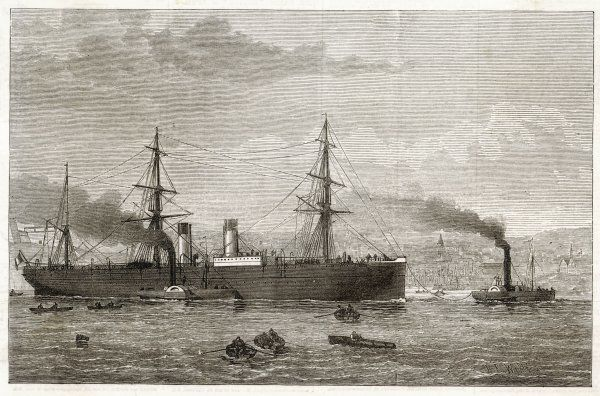 The French Transatlantic Company's steamship 'Amerique' towed into Plymouth by tugs