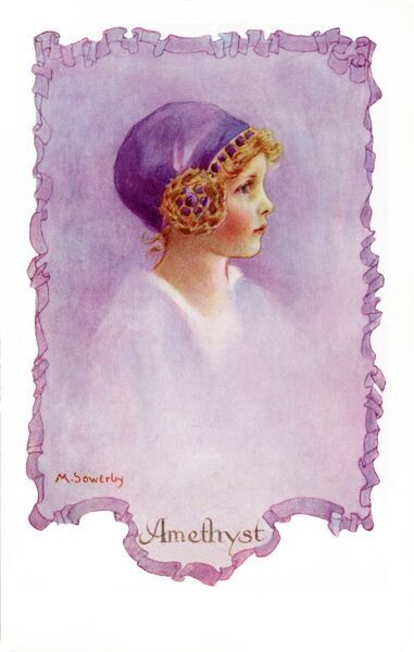 Amethyst by Millicent Sowerby. From the Little Jewels series of postcards illustrated by Amy Millicent Sowerby (1878-1967). Date: circa 1916
