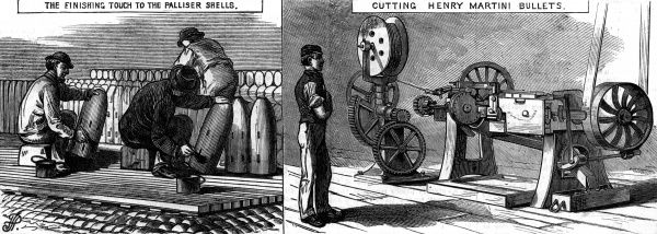 Putting the finishing touches to Palliser shells at the Royal Arsenal, Woolwich, London Date: 1877