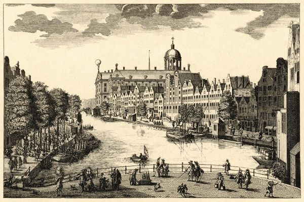 Amsterdam: the flower market, canal and town hall