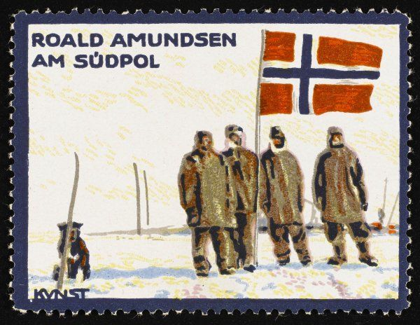 Norwegian explorer Amundsen and his colleagues at the South Pole
