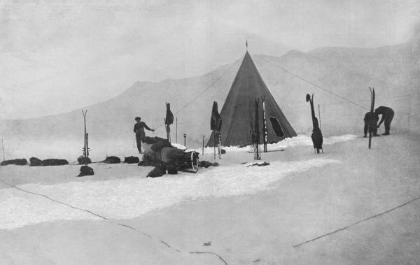 Photograph showing members of the Amundsen Antarctic Expedition of 1910-12 erecting their tent near Axel Heiberg's Glacier, Antarctica, 1911
