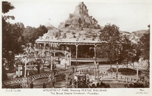 View of the Amusement Park, showing the Scenic Railway, at the British Empire Exhibition, held at Wembley between April and October 1924. Date: 1924