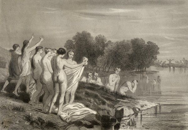 A mass baptism of the Anabaptists in a river