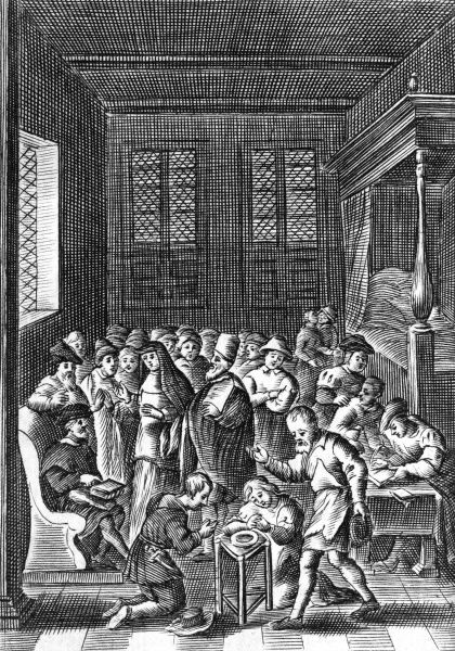 A meeting of the Anabaptists in Amsterdam : two young people are being baptised into the faith. Date: 16th century