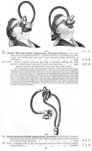 Frankis Evans' Nasal Nitrous Oxide apparatus : (lower) Trewby's apparatus [This catalogue contains 2000 pages of medical equipment] Date: 1930