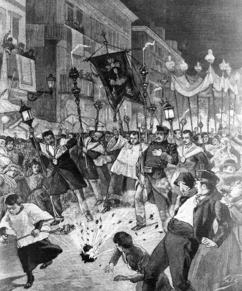 Anarchists attack a religious procession in Barcelona. 1898