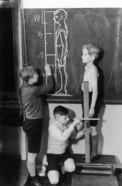 Two boys measuring the height and proportion of another boy during an anatomy lesson. One of the boys chalks down the results of their findings on the blackboard. Date: 1930s
