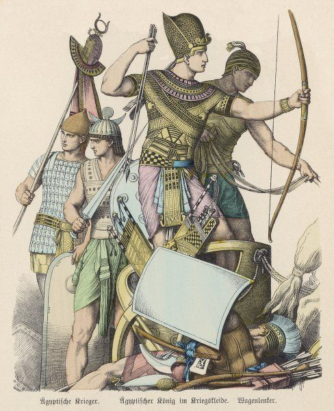 An Egyptian king in battle array, with some of his warriors