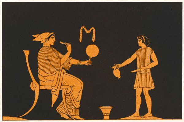 A lady attends to her toilet in Ancient Greece