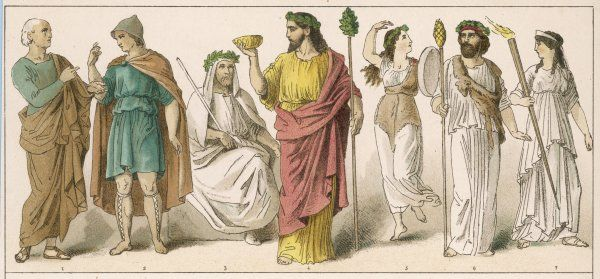 Various Ancient Greek costumes; left to right - philosopher, citizen, Priest of Ceres, 2 Priests of Bacchus with a female Bacchante in between and a priestess
