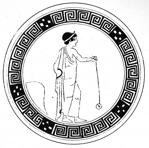 An ancient Vase-painting from Berlin Museum showing a Greek man dressed in a toga playing with a yo-yo