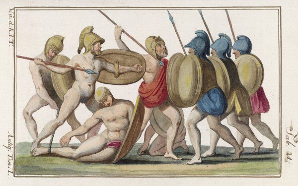 Greek and Trojan warriors engage in hand-to-hand combat