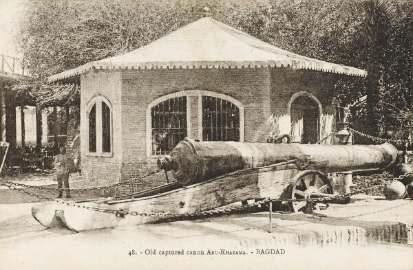 An ancient Iraqi Cannon (Abu Khazama) captured by the British in Baghdad