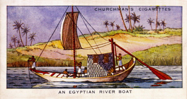 A Nile riverboat under sail : she also has oars as well as the huge paddle-like rudder