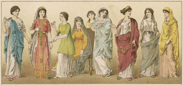 Ancient Roman women in various coloured costumes