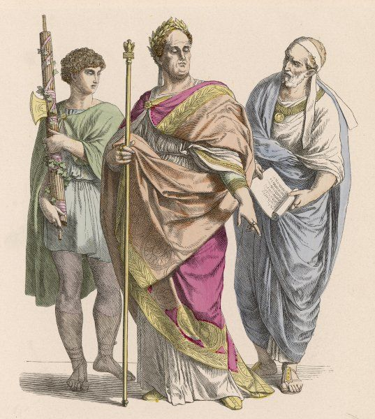 Three Ancient Romans (from left to right) -- a Lictor, an Emperor, and a Nobleman