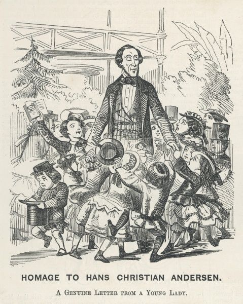 HANS CHRISTIAN ANDERSEN the famous fairy tale writer is surrounded by excited children when visiting England
