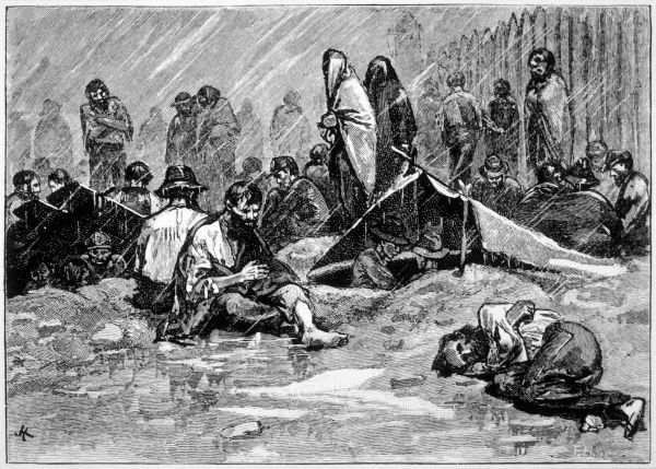 Federal prisoners undergo awful hardships at Andersonville, where they have to endure the cold and the rain with scarcely enough clothing or shelter