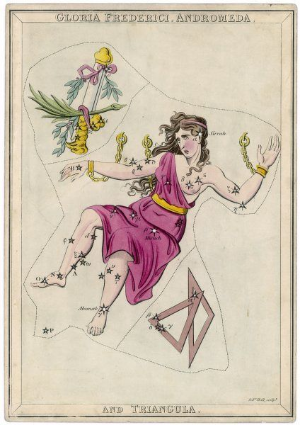 Andromeda (Gloria Federici), in chains, plus triangles constellation