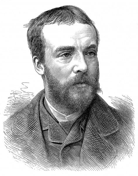 Engraved portrait of Andrew Carrick Gow (1848-1920), the British painter, pictured in 1881, shortly after he had been made Associate of the Royal Academy