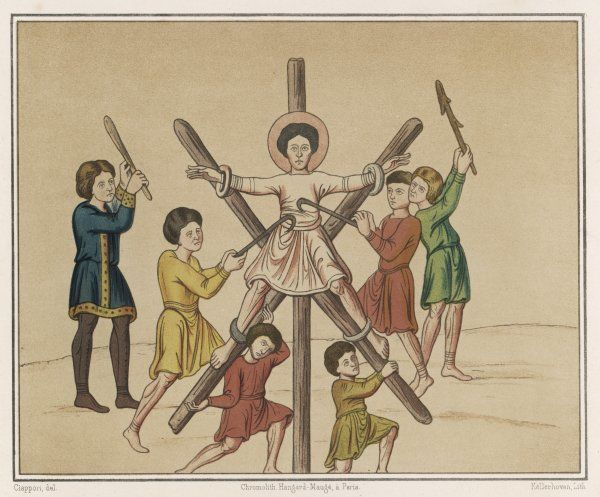 Saint ANDREW is crucified