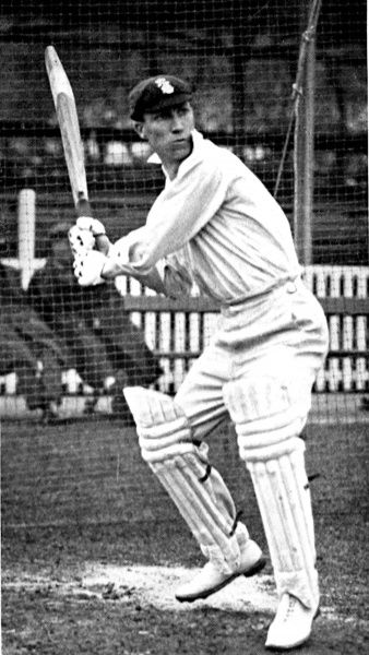 Photograph of Andrew Sandham (1890-1982), the Surrey and England batsman, batting in the practice nets, during the 1924 season. Sandham scored 107 first-class centuries at average of 44.82 during a career that stretched from 1911 to 1938