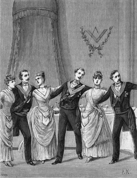 Scene depicting the 'Final Song' and the 'Union of Brothers and Sisters' chain. Date: 1890s