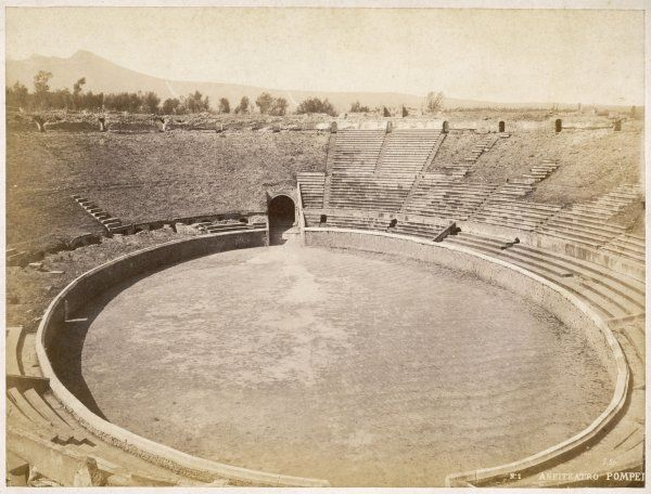 The 'Anfitheatro' at Pompeii, with the original seating still in situ