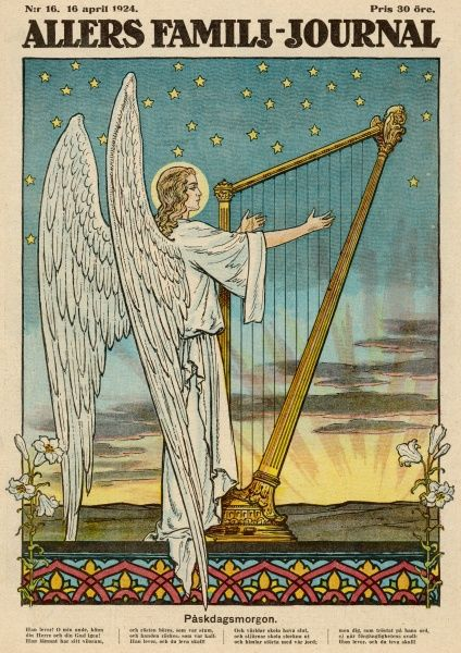 An angel plays the harp as Easter dawns