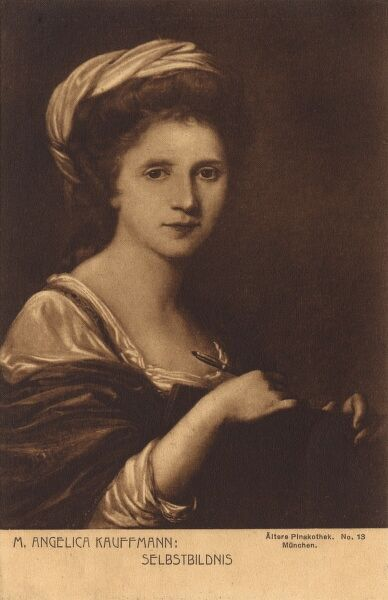 Self-portrait painting by Swiss-Austrian Neoclassical painter Angelica Kauffmann (1741-1807). Date: circa 1770