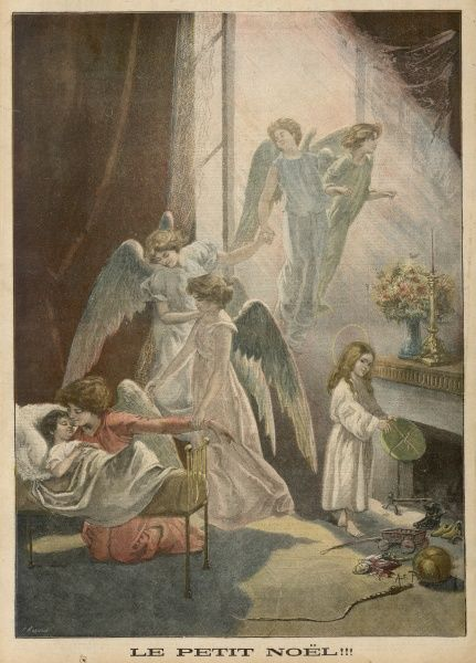 Angels visit a sleeping child's bedroom - they kiss it and leave presents