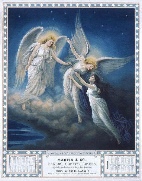 A colour illustration for an advertisement depicting angels on a starlit cloud, welcoming a new angel to heaven