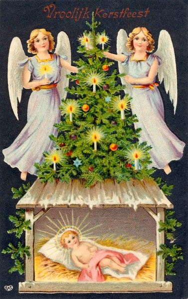Two angels light the candles on a Christmas Tree on the roof of the stable where the baby Jesus lies, uniting pagan myth and the Christian story