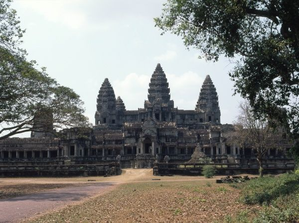 View of the Khmer temple of Angkor Wat, at Siem Reap, Cambodia, showing the central temple complex, east side. The temple was first Hindu, then Buddhist