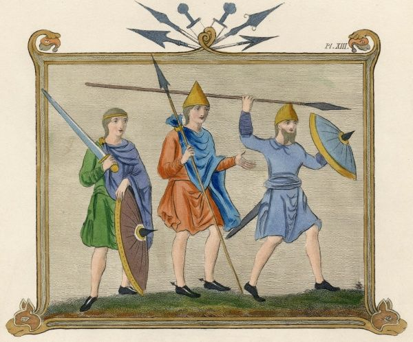Saxon soldiers with spears, broad swords and shields