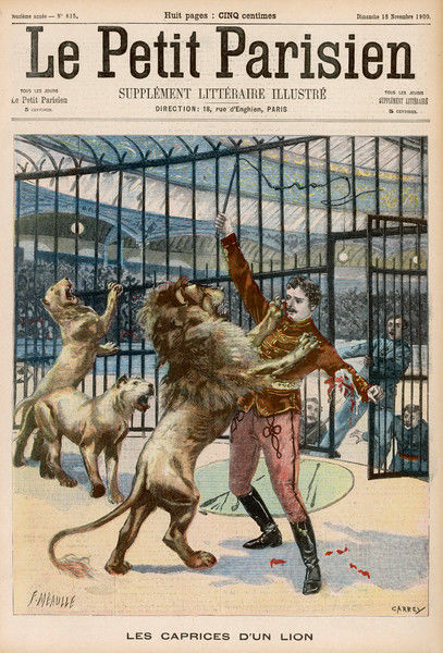 At the Paris Hippodrome, a lion whose cubs have been taken from him attacks tamer Marck and injures him seriously