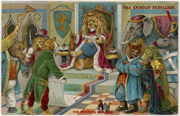 The tiger presents a petition to the lion, King of Beasts, but it is refused