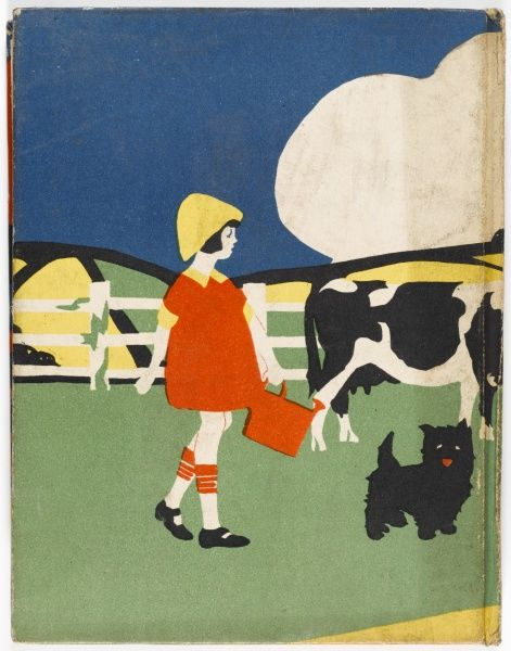 Back cover illustration showing a little girl preparing to milk a cow