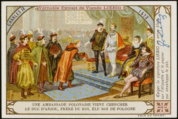 The Polish ambassador comes to Paris to tell the duc d'Anjou that he has been elected king Henryk of Poland : he will also be Henri III of France