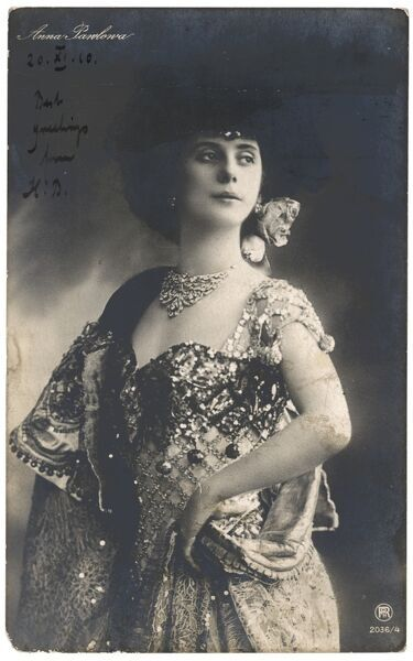 ANNA PAVLOVA Russian ballet dancer in an ornate costume in 1910