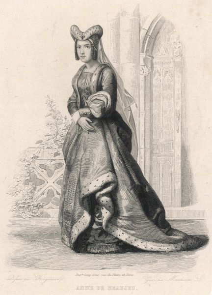 Anne de Beaujeu, daughter of Louis XI of France, keeps warm by wearing a long trailing thick fur-trimmed garment, with several layers beneath