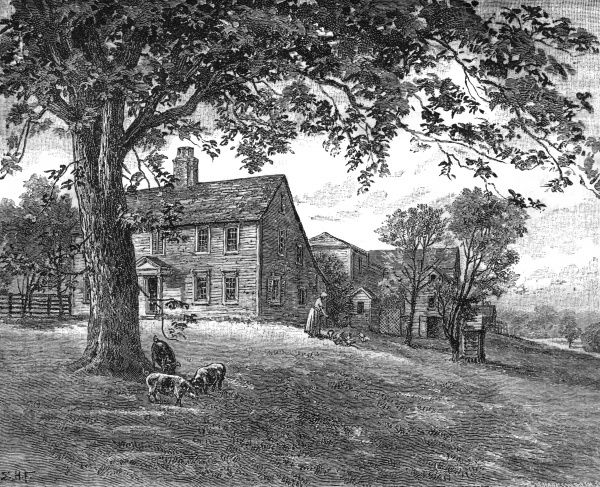 American poet ANNE BRADSTREET's home at North Andover, Massachusetts. Date: CIRCA 1670