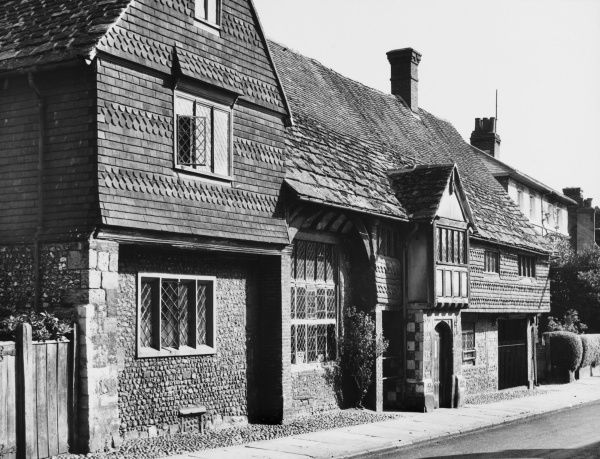 This traditional Wealden type building, known as the 'Porched House', at Southover, Lewes, Sussex, was given to Anne of Cleves in 1541, following her divorce from Henry VIII (1540)