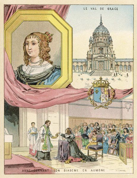 ANNE D'AUTRICHE, queen of Louis XIII - she is depicted presenting her diadem to raise money for abandoned children